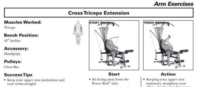 The Blaze offers tricep extension at unique angles. Nice one Bowflex