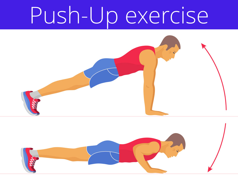 doing push-ups in strength building routine